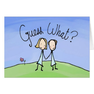 Cute Lesbian Couple Guess What Greeting Card