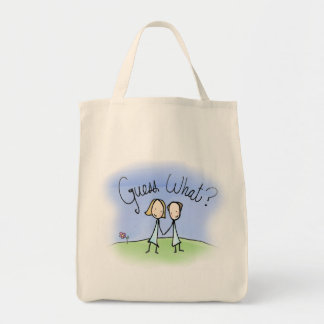 Cute Lesbian Couple Guess What Grocery Tote Bag