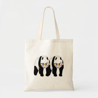 Cute Lesbian Pandas Rainbow Wearing Glasses Tote Bag