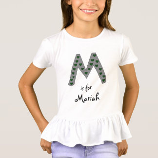 Cute Letter M Design Personalized Girls Name T-Shirt