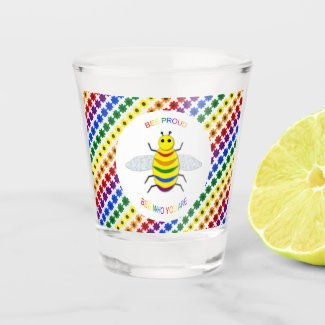 Cute LGBT Proud Rainbow Bee and Flowers Shot Glass