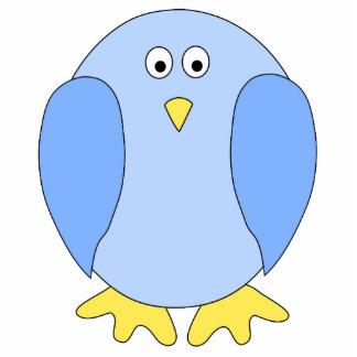 Cute Light Blue Bird Cartoon. Photo Sculpture Badge