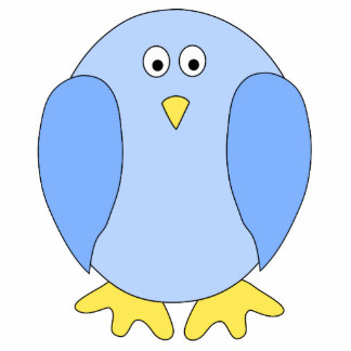 Cute Light Blue Bird Cartoon Cut Outs