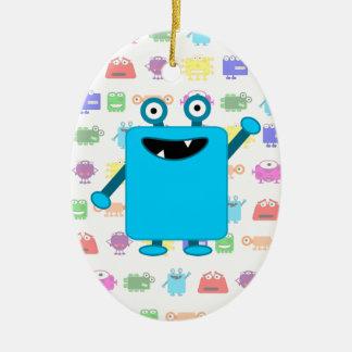 Cute Light Blue Cartoon Monster Christmas Ornament
