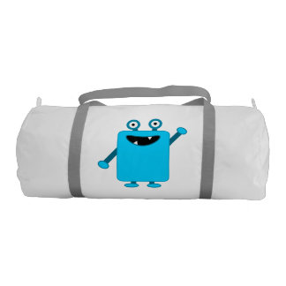 Cute Light Blue Cartoon Monster Gym Duffel Bag