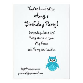 "Cute light blue owl 6.5"" x 8.75"" invitation card"