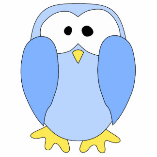 Cute Light Blue Penguin. Penguin Cartoon. Standing Photo Sculpture