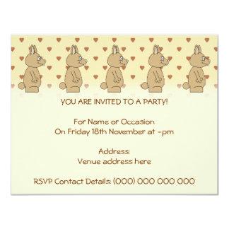 Cute Light Brown Rabbit. 11 Cm X 14 Cm Invitation Card