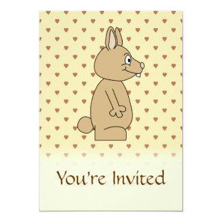 Cute Light Brown Rabbit. 13 Cm X 18 Cm Invitation Card