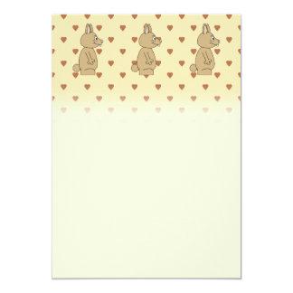 "Cute Light Brown Rabbit. 5"" X 7"" Invitation Card"
