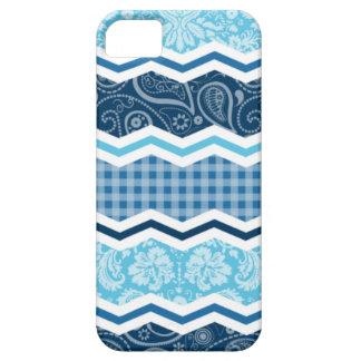Cute Light & Dark Blue Patterns iPhone 5 Case
