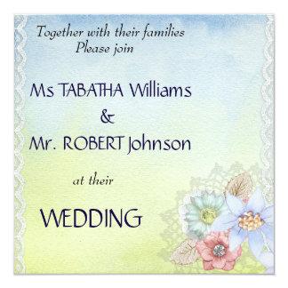 Cute Light Floral Square Wedding Invitation