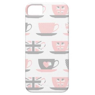 Cute Light Gray and Pink Tea Cups iPhone 5 Covers
