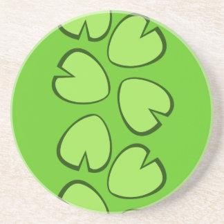 Cute Light Green Lily Pad Leaves Design Beverage Coasters
