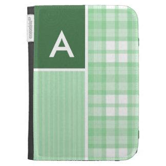 Cute Light Green Plaid Kindle Cover
