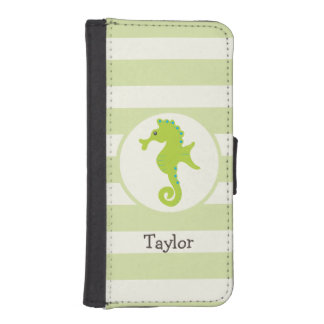 Cute Light Green Seahorse iPhone 5 Wallet Cases