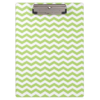 Cute Light Lime Green Chevron Stripes Clipboard