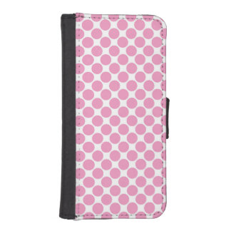 Cute Light Pink and White Polka Dots Phone Wallet