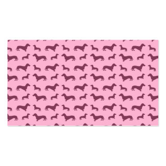 Cute light pink dachshund pattern business card template