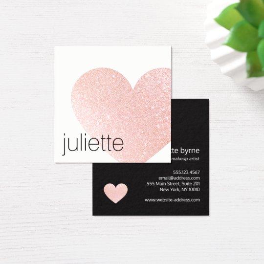 Cute Light Pink Glitter Heart Beauty Salon Square