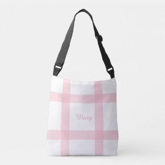 Cute light pink Paid pattern Crossbody Bag