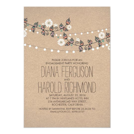 Cute Light Strings Floral Rustic Engagement Party Card