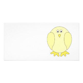 Cute Light Yellow Bird. Cartoon Chick. Personalised Photo Card