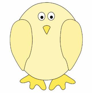 Cute Light Yellow Bird. Cartoon Chick. Standing Photo Sculpture