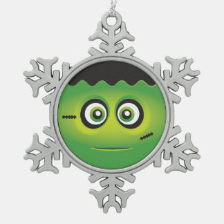 Cute Lil' Frankenstein emoji Happy Halloween Pewter Snowflake Decoration