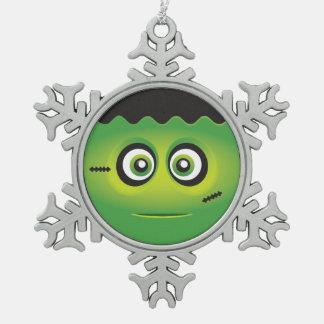Cute Lil' Frankenstein emoji Happy Halloween Snowflake Pewter Christmas Ornament