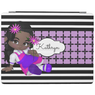 Cute Lil Girl w/Modern Patterns iPad Cover