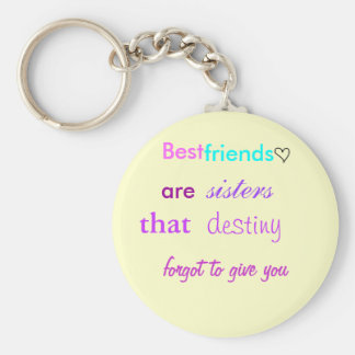 cute lil heart Best friends are sisters Keychain