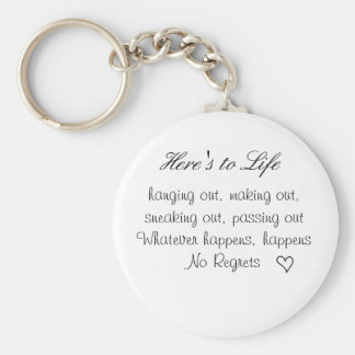 cute lil heart, Here's to Life, hanging out, ma... Basic Round Button Key Ring