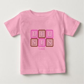 Cute Lil Sis Word Block with Name Shirt