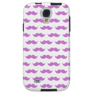 Cute Lilac and White Mustache Pattern 1 Galaxy S4 Case