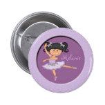 Cute lilac Ballerina 1 Custom Name Button