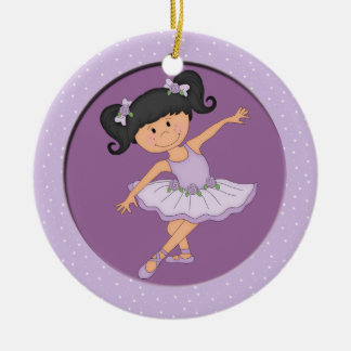 Cute Lilac Ballerina 3 Ballet Star Christmas Ornament