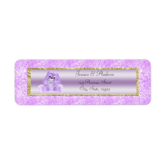 Cute Lilac Bunny Baby Shower Return Address Label