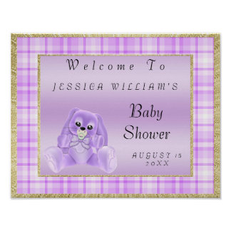 "Cute Lilac Bunny ""Welcome"" Poster"