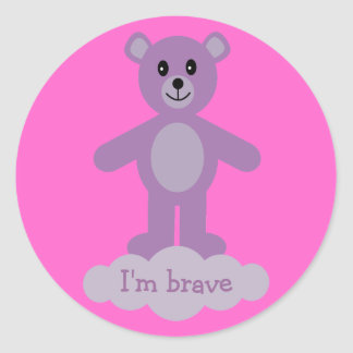 Cute Lilac Teddy Bear I'm Brave Pink Stickers