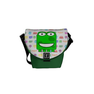 Cute Lime Green Cartoon Monster Courier Bag