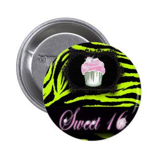 cute Lime Green Cupcake Sweet 16 Button