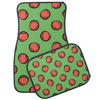 Cute Lime Green with Orange Polka Dots Car Mats
