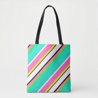 Cute Line Green Pink Tote Bag