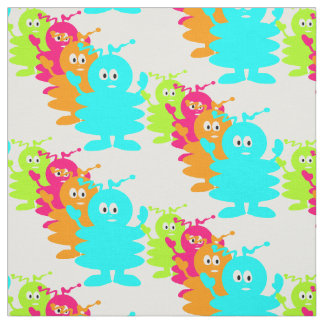 Cute line-up of colorful aliens in pattern fabric