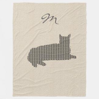 Cute Linen Look Black Cat Monogram Blanket