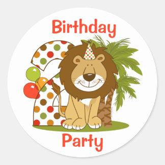 Cute Lion 2nd Birthday Classic Round Sticker