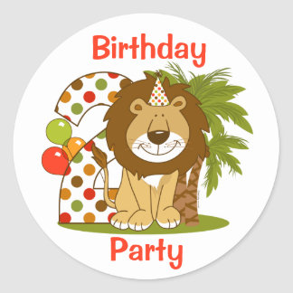 Cute Lion 2nd Birthday Round Sticker