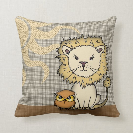 Cute Lion and Owl Throw Pillow for Boy