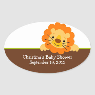 Cute Lion Baby Shower Oval Sticker